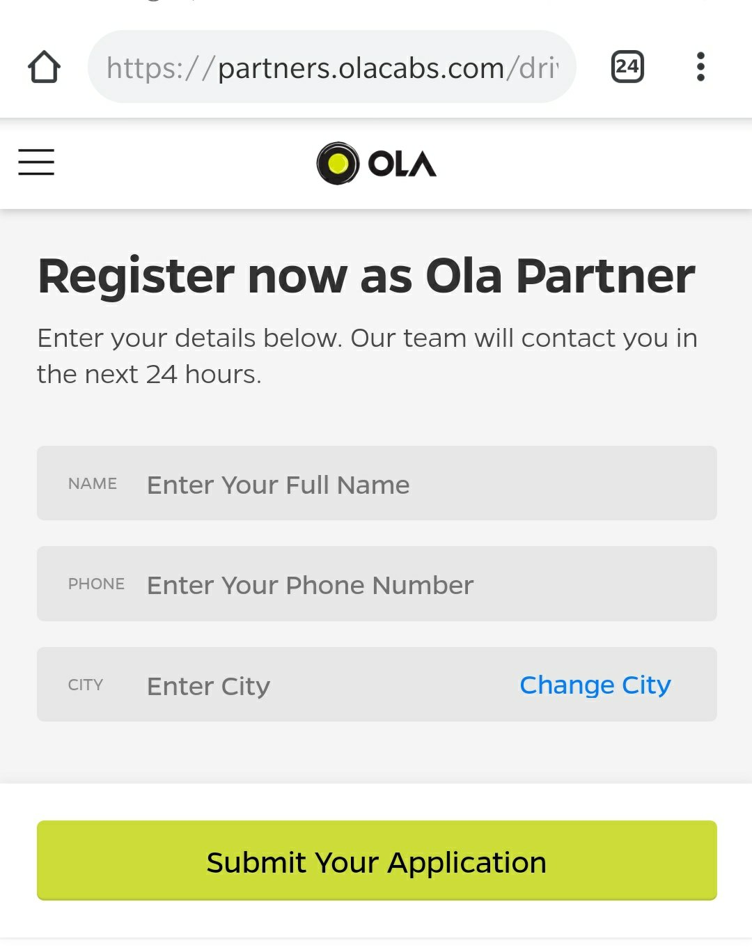 Registration Process for Ola